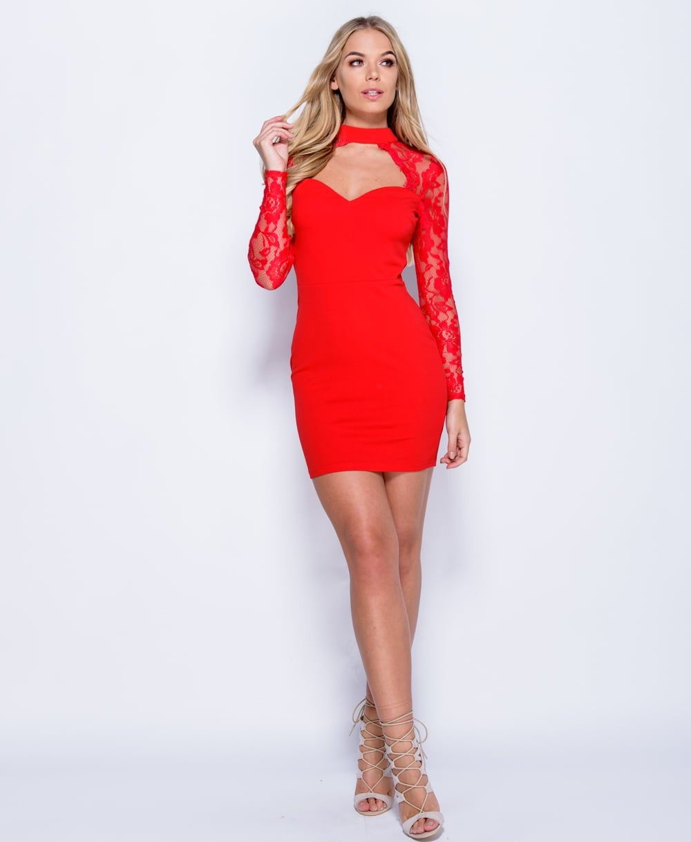 Lace Choker Bodycon Dress In Red