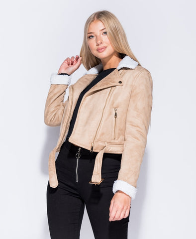 Suedette Biker Jacket In Camel