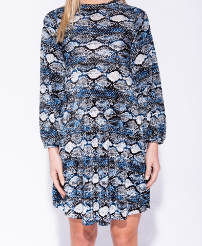 Snake print Shift Dress in Blue