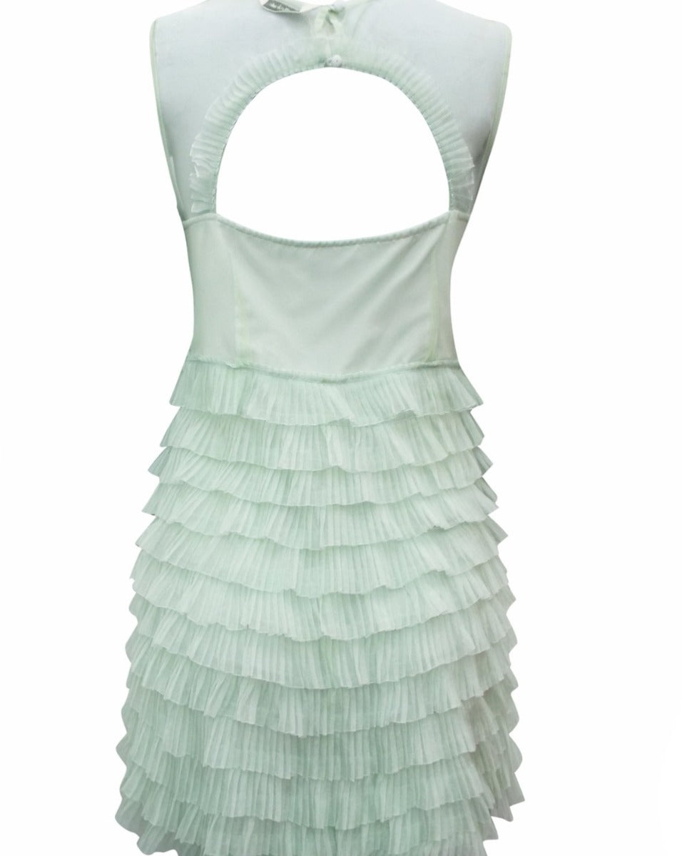 Ex Brand ~ Pastel Green Pleated Frill Layered Dress