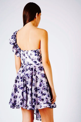 Ex Brand ~ One Shoulder Layered Print Dress