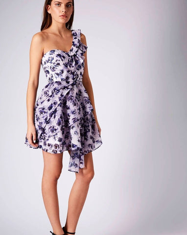 Purple One Shoulder Layered Print Dress