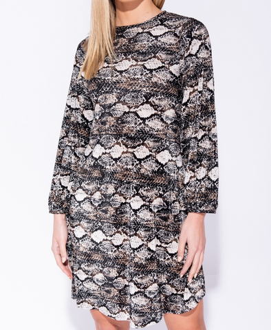 Snake print Shift Dress in Grey