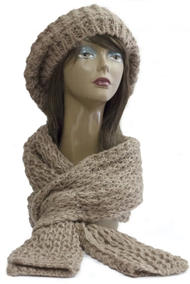 Lurex Knitted Slouch Hat & Scarf Set ~ Brown