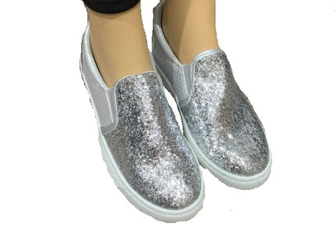Silver Sparkly Slip on Trainers