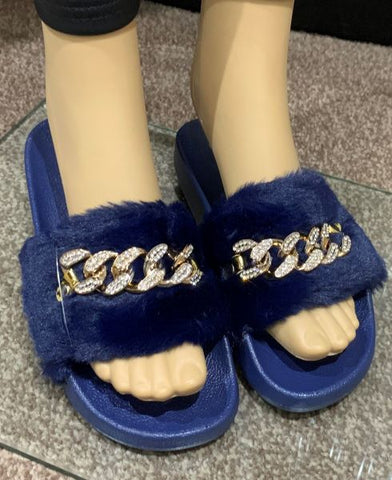 Fluffy Sliders in Navy