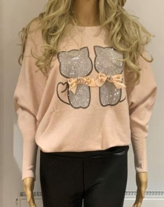 Soft Cat Jumper in Pink