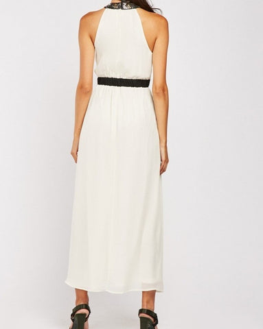 Jasmine Halter Neck Maxi Dress in Ivory