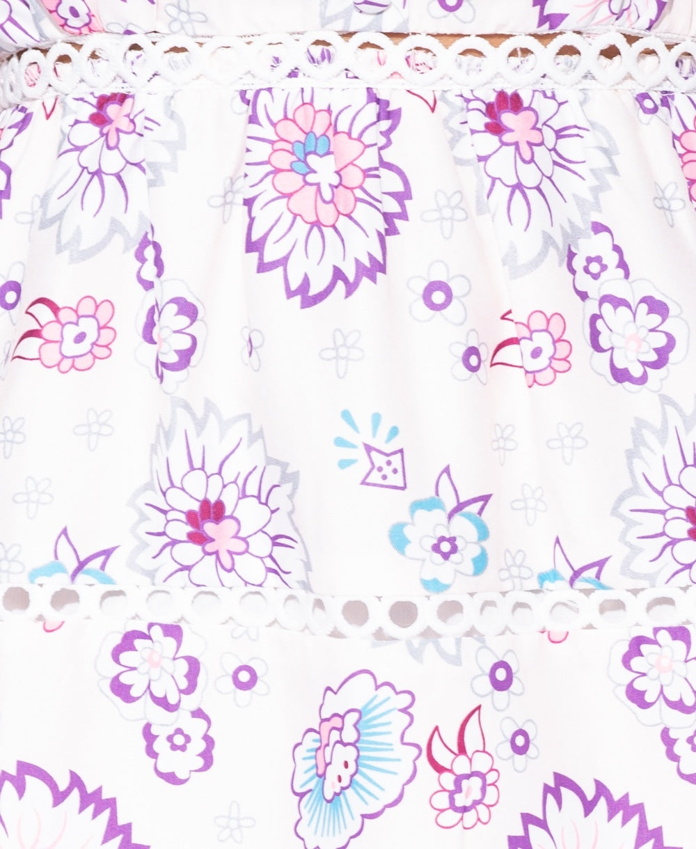 Purple & White Print Floral Cami Dress