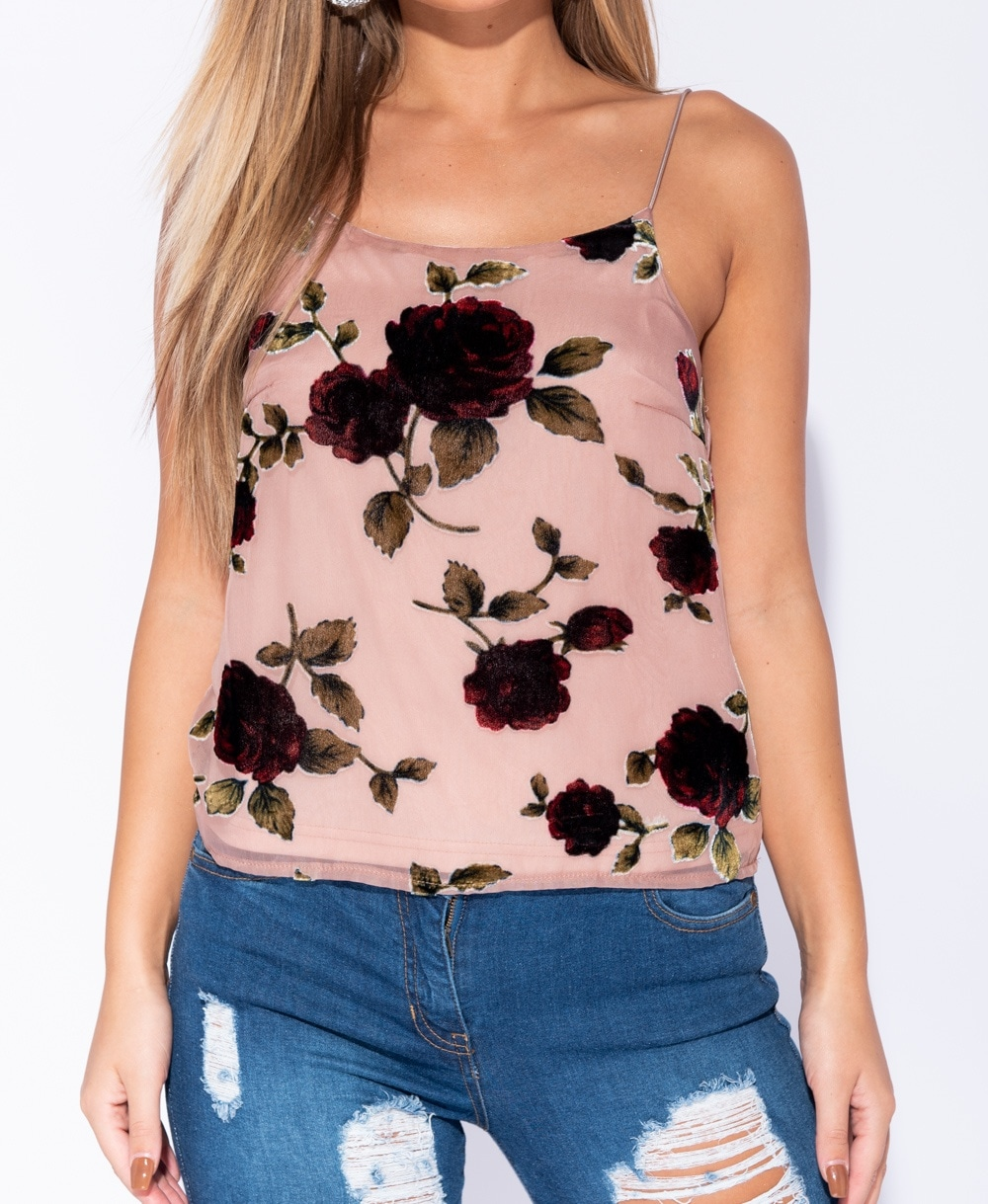 Rose Print Cami Top