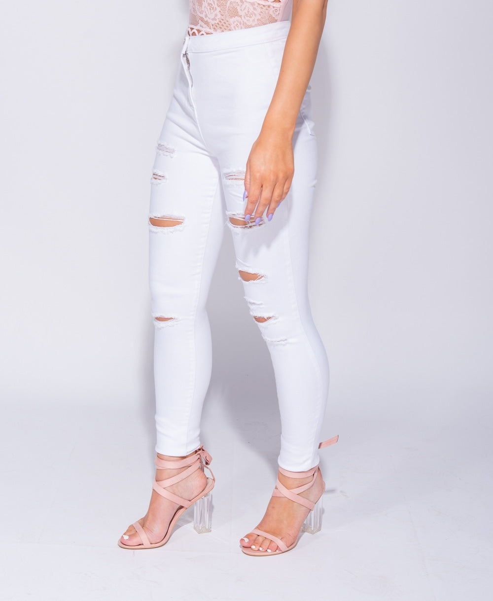 Parisian High Waisted Multi Slash Ripped Jeggings in White