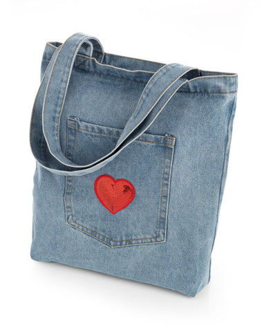 Red Heart design Rope Tote Bag