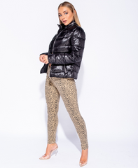 Parisian High Shine Puffa Jacket in Black