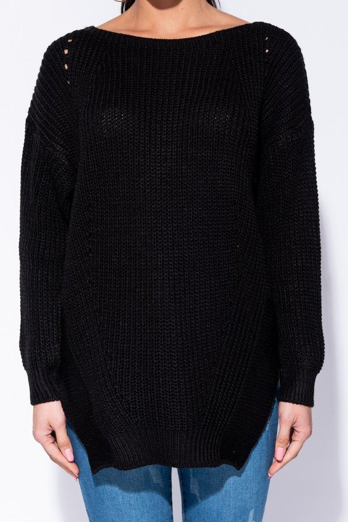 Side Split Pointelle Detail Jumper in Black