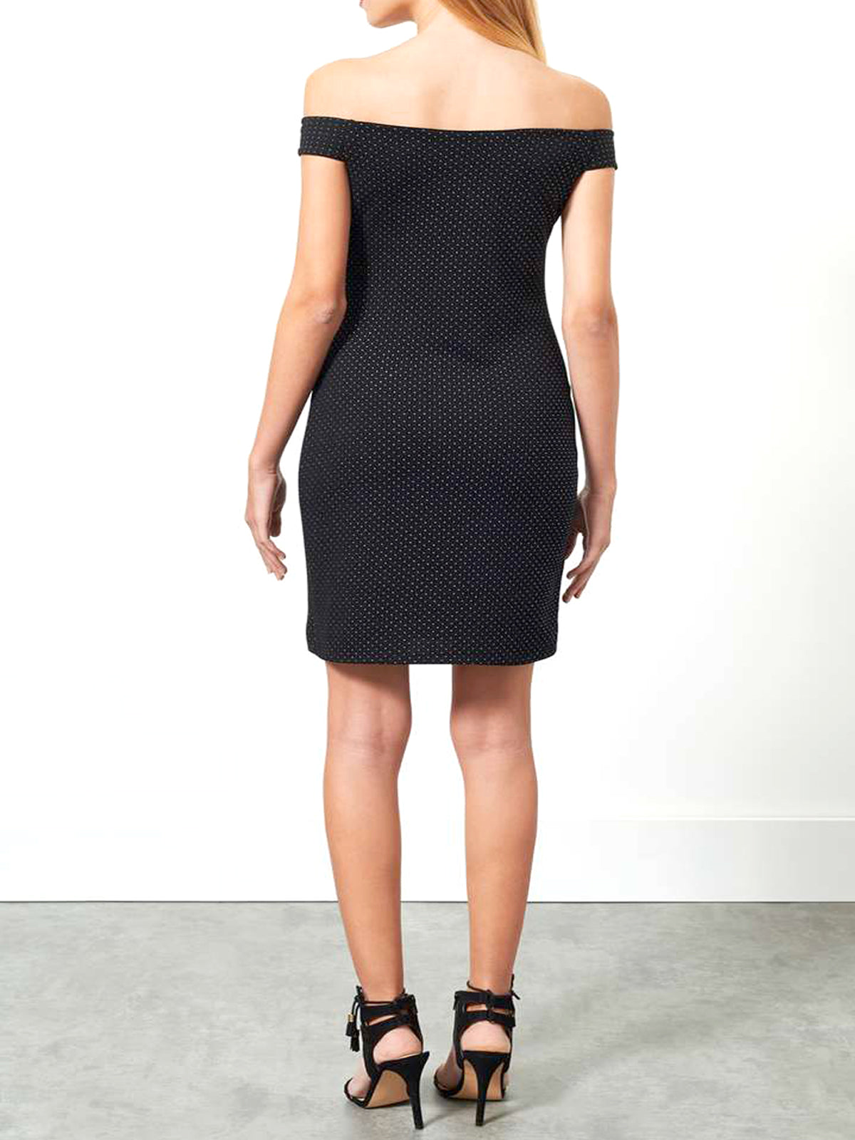 Black Dot Bardot Bodycon Dress