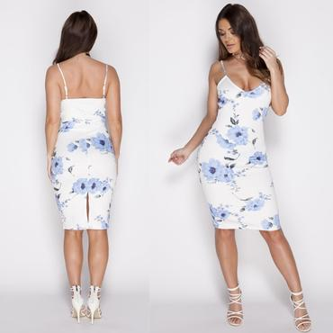 Parisian White & Blue Floral printed Bodycon Cami Dress