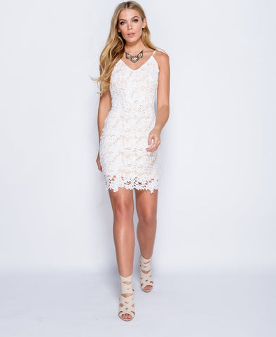 Floral Crochet Bodycon Dress in White
