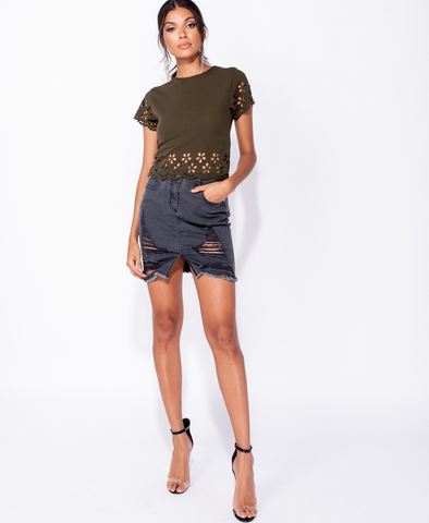 Laser Cut Out Short Sleeve Top in Khaki