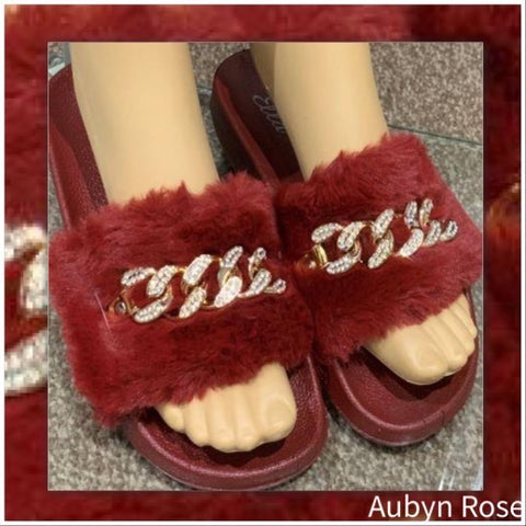 Fluffy Sliders in Burgundy