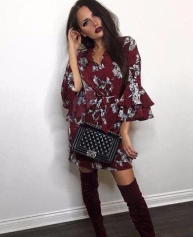 Red Floral Long Flare Sleeve Dress