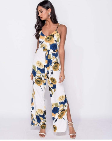 Floral Jumpsuit with Side Splits in Red