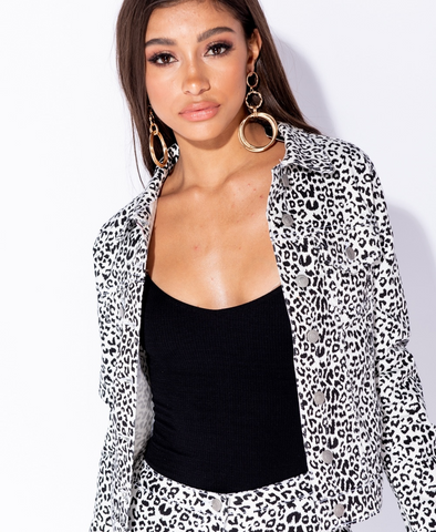Parisian ~ Leopard Print Denim Jacket In Black & White