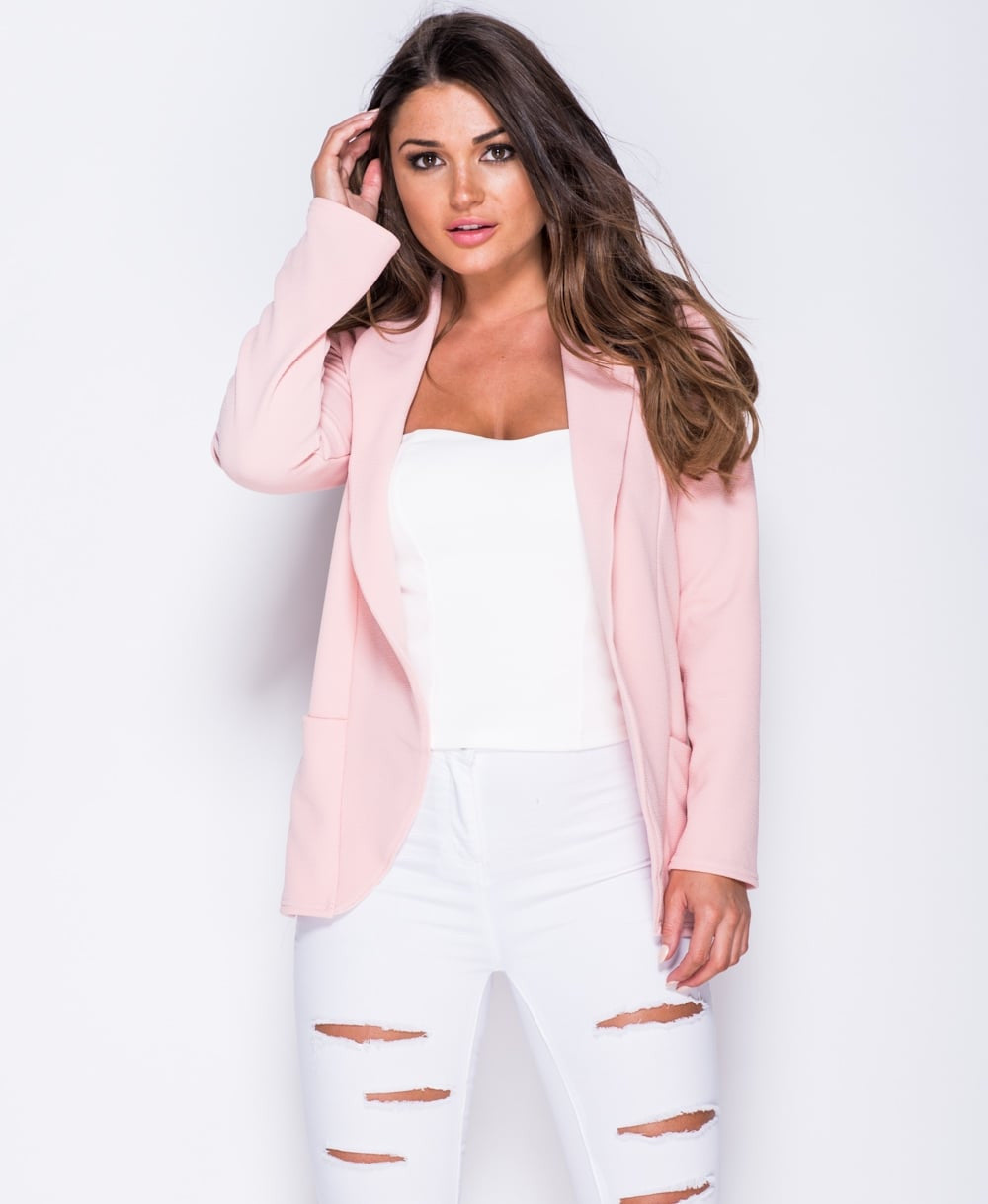 Longline Full Sleeve Blazer In Pink