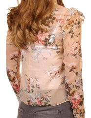 High Neck Floral Chiffon Top in Rose Pink