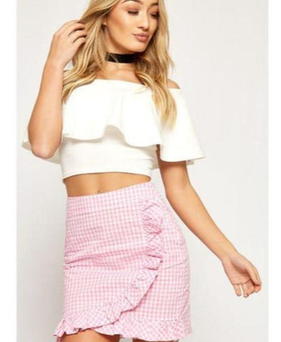 Parisian Gingham Pink & White Frill Mini Skirt