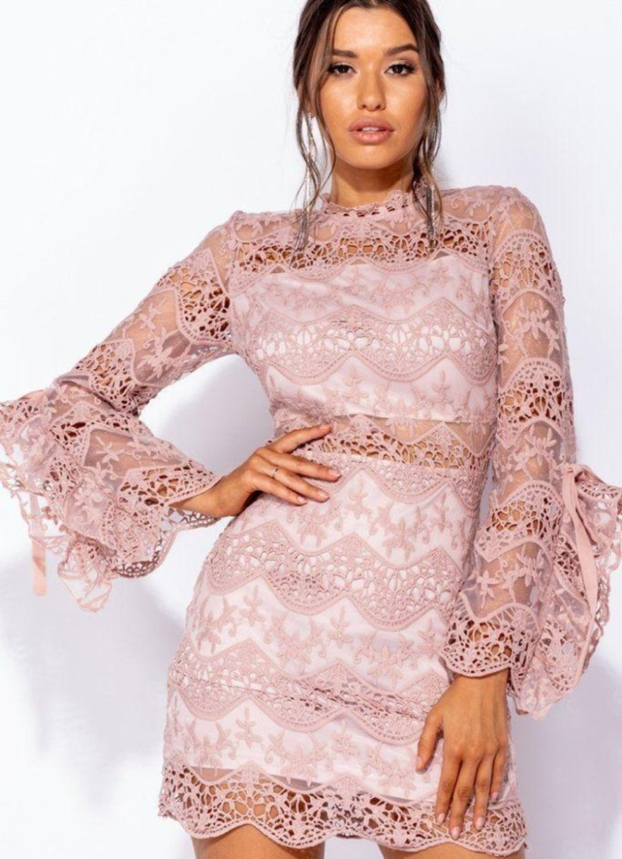 Pink Long Sleeve Lace Dress