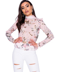 High Neck Floral Chiffon Top in Pink