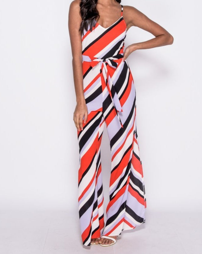 Parisian ~ Stripe Jumpsuit with Side Splits