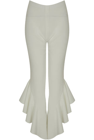 White Frill Flared Crop Trousers
