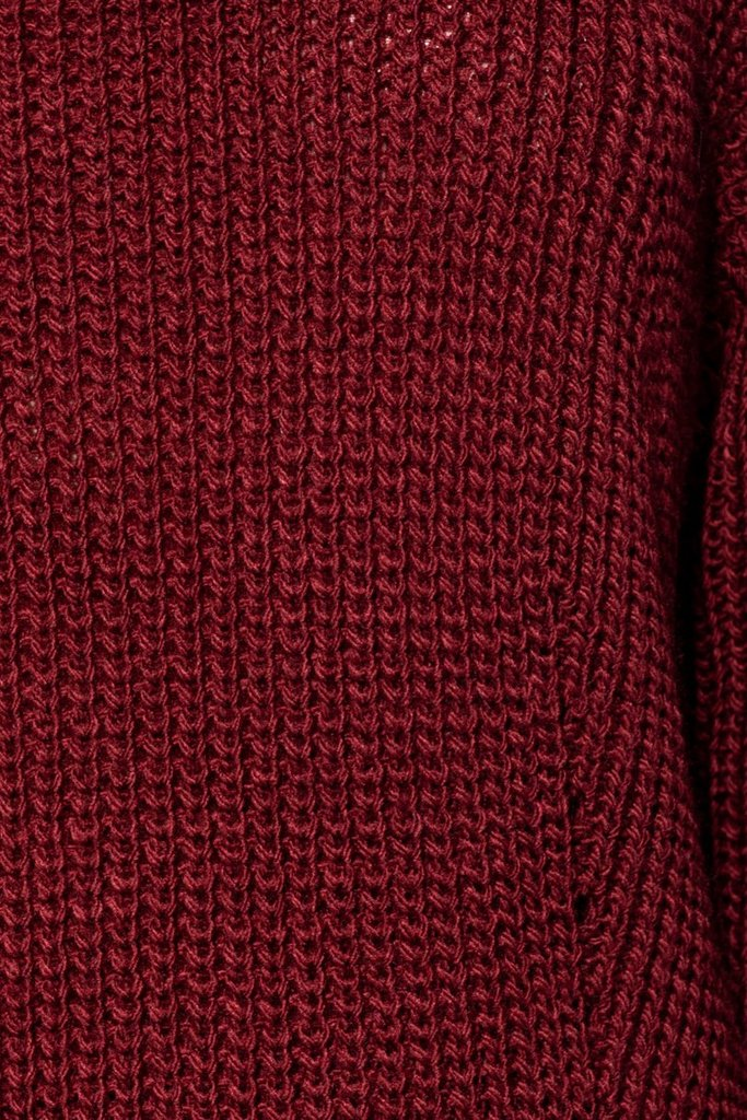 Side Split Pointelle Detail Jumper in Wine
