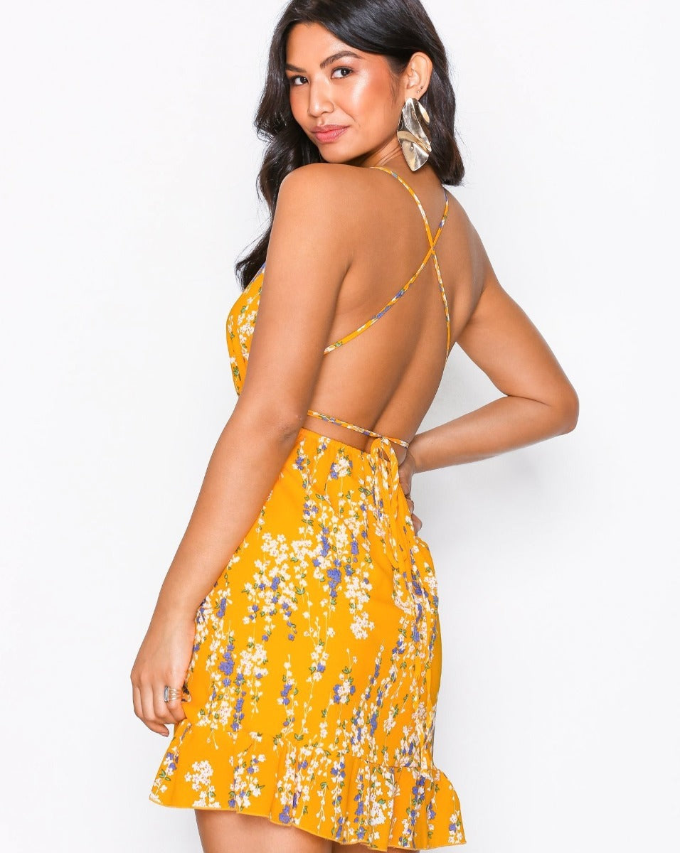 Floral Wrap Dress in Yellow