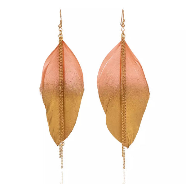 Gold Dipped Colour Feather Drop Earrings - 4 Options