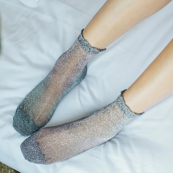 Shimmer Ankle Socks - Metallic Colours