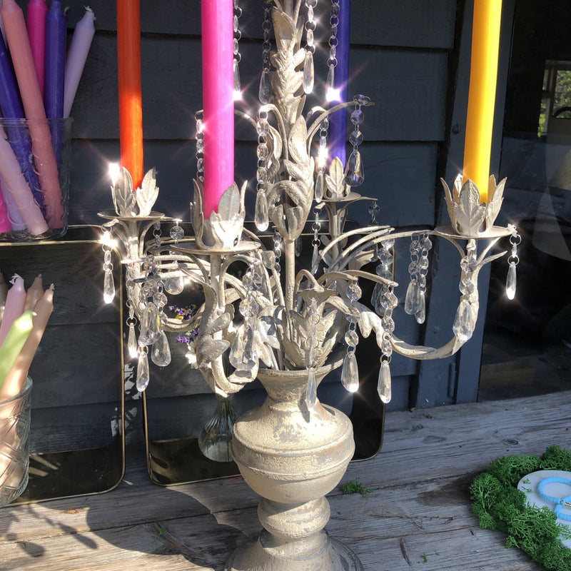 Distressed Metal Candelabra with Glass Droplets - (for 5 candles)