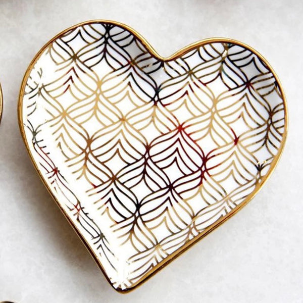 Feather Pattern HEART China Dish