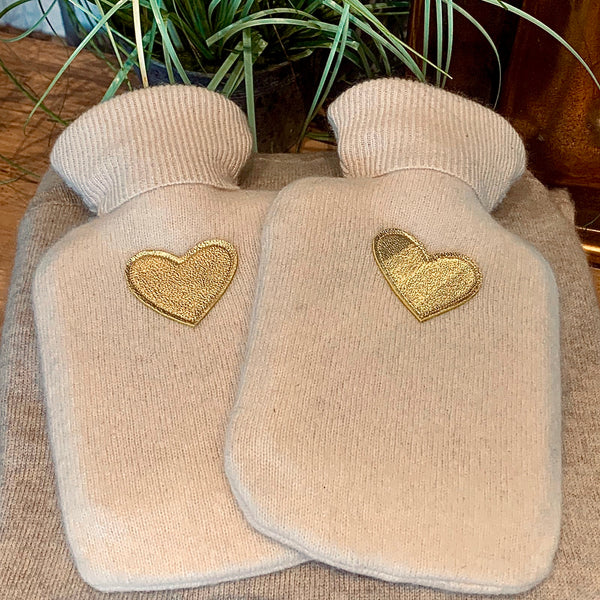 Mini Hot Water Bottle - Upcycled Cashmere Cover