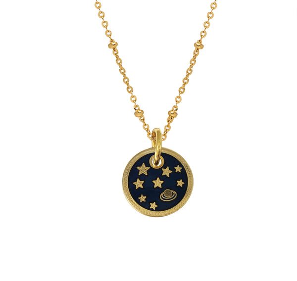 Planet and Stars Enamel Medal Pendant - by Mirabelle