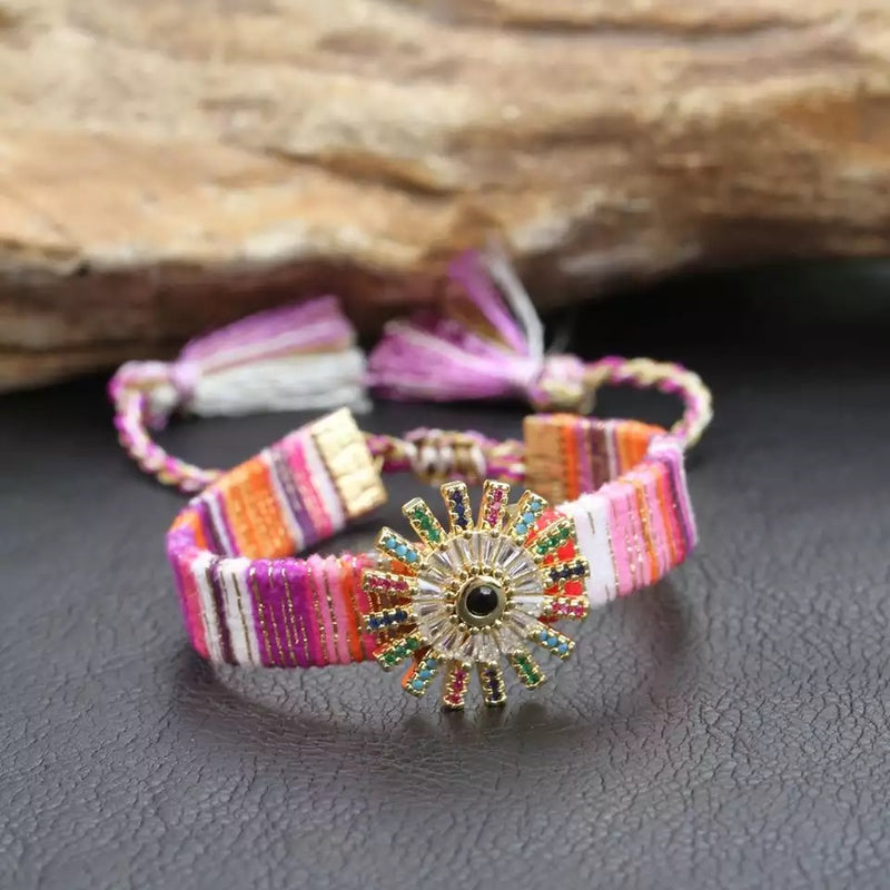 Silk Bracelet with Charm and Tassels (Crown)