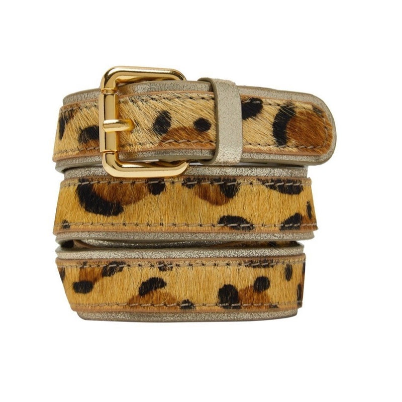 Animal Print Leather Belt - Classic Leopard with Gold Edge