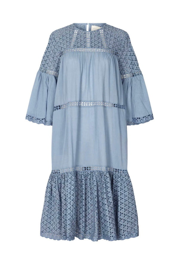 Lollys Laundry Cotton Blue Broderie Dress