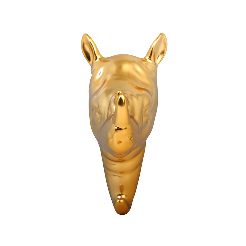 Gold Lustre Glazed Porcelain (Strong) Trophy Head Wall Hooks - LION