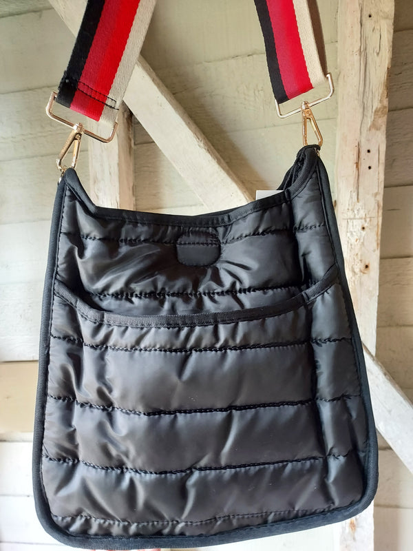Ahdorned Messenger Puffer Bag Black
