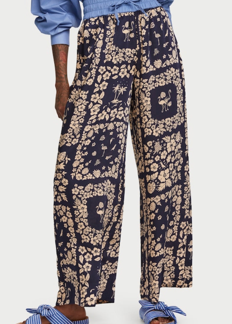 SCOTCH and SODA Floral/Tropical Print Wide Leg Trousers