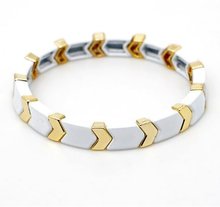 Enamel Tile Beads Bracelet - White / Gold Arrows