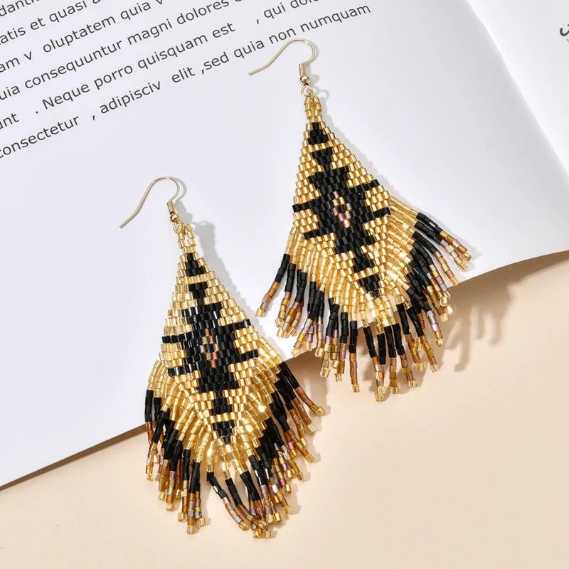 Seed Bead Black and Gold Drop Earrings