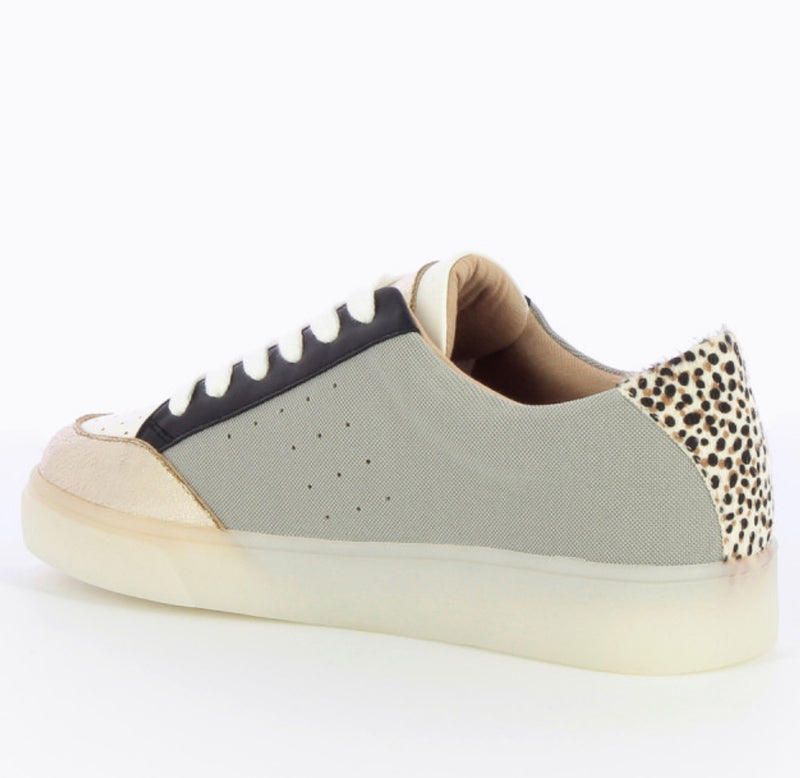 Low Top Lace Trainers Soft Grey, Gold Toe, Leopard Heel